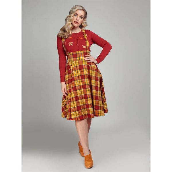 Collectif   Rok Alexa Autumn check swing rok met hoge taille