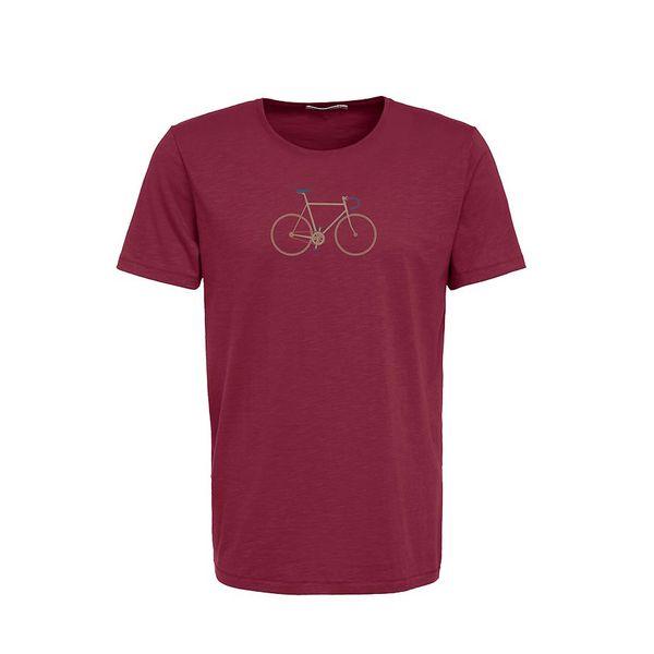 Green Bomb   T-shirt bike trip, bio katoen bordeaux