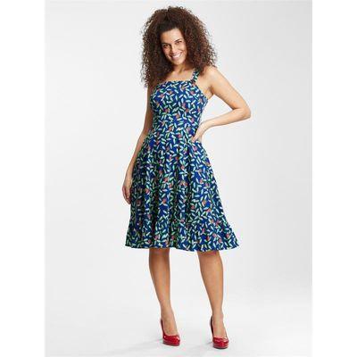 Foto van Collectif | Blauwe jurk Maggie Strawberry met bladmotief