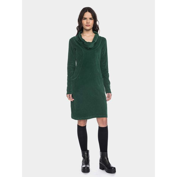 ATO Berlin | Halbmond donker groen retro jurk met losse col