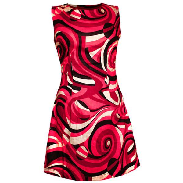 Chenaski | 70's a lijn jurk, kinda wavy creme black red