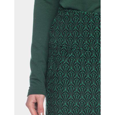 Foto van ATO Berlin | rok Hilly groen jacquard, brede tailleband en zakken