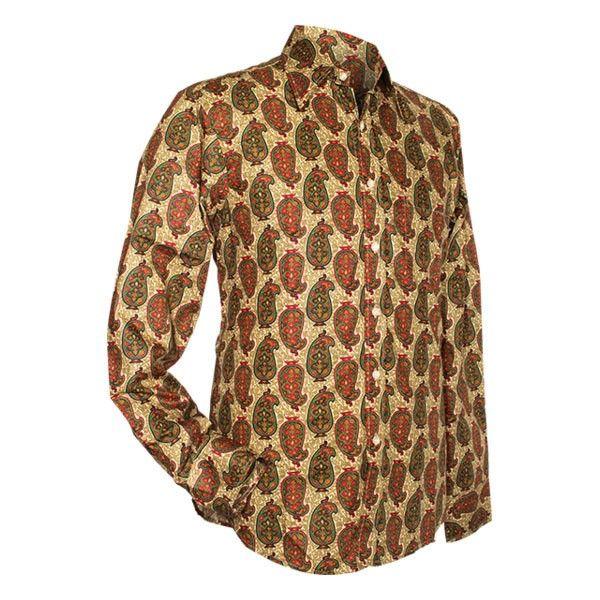 Chenaski | overhemd seventies, Indian paisley, creme groen
