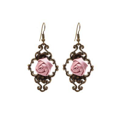 Oorbellen Victoriana rose bud, brons en roze
