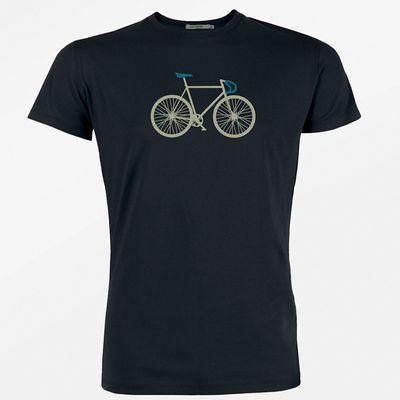 Foto van Green Bomb | T-shirt, Bike Two, bio katoen, zwart met racefiets