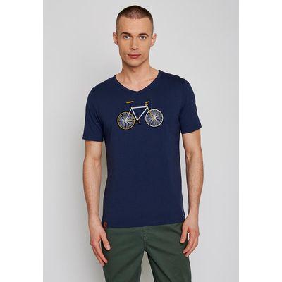 Foto van Green Bomb | T-shirt navy Bike Easy, bio katoen