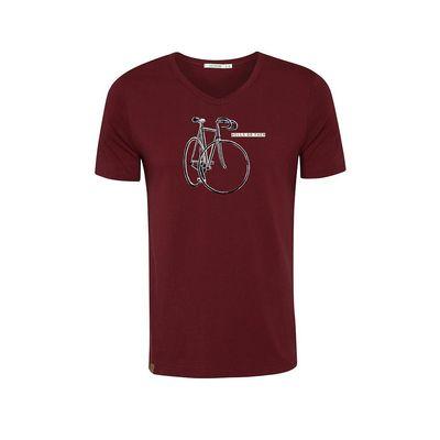 Foto van Green Bomb | T-shirt bordeaux Bike Do, bio katoen