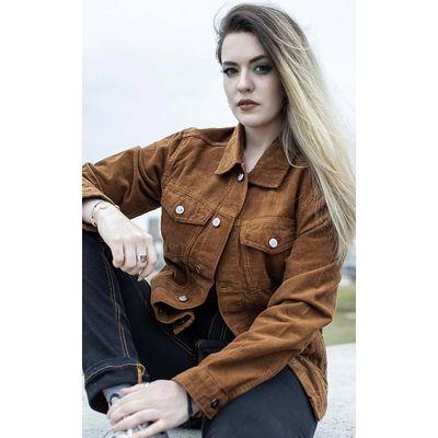 Foto van Run & Fly | Ribcord jas 60s Western Trucker, tan brown