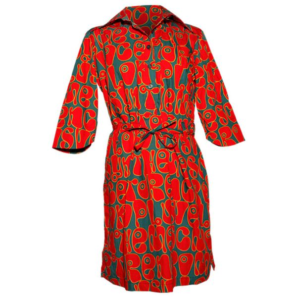 Chenaski   70's jurk, feelgood moloko petrol red orange