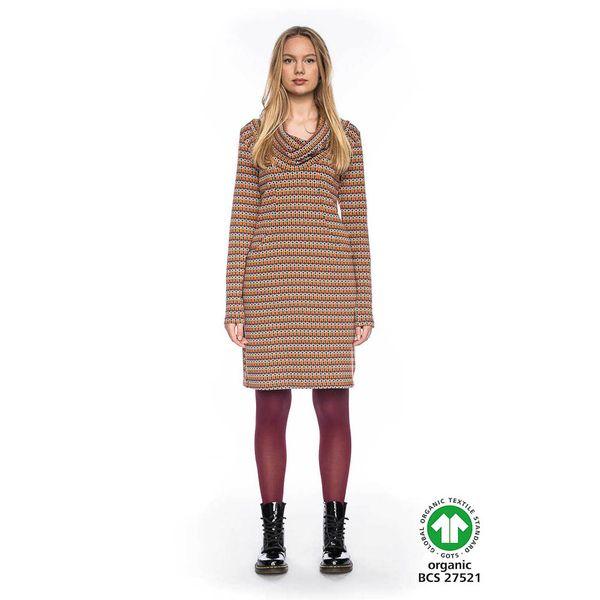 ATO Berlin   Kleurrijke warme jurk Halbmond met losse col