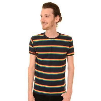 Foto van T-shirt, Navy retro rainbow gestreept