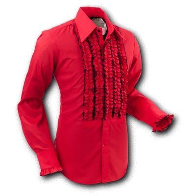 Foto van Chenaski | Overhemd ruche, red black trim