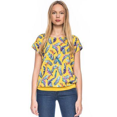Foto van Ato-Berlin - Shirt Leo, geel met bonte veren print