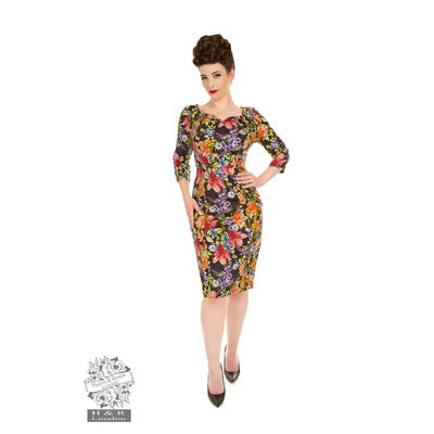 Foto van Hearts & Roses | Pencil jurk Sarah Floral met gekleurde bloemen