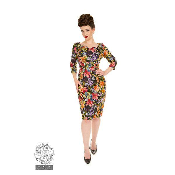 Hearts & Roses   Pencil jurk Sarah Floral met gekleurde bloemen