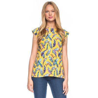 Foto van Shirt top Femke, geel met bonte veren print