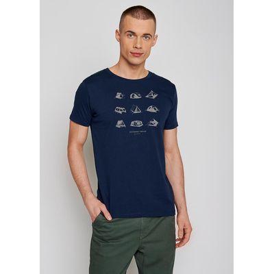 Foto van Green Bomb | T-shirt Outdoor freak, navy blauw bio katoen
