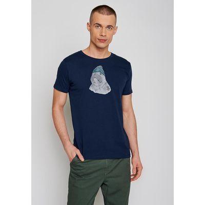 Foto van Green Bomb | T-shirt navy blauw Walrus sailor, bio katoen