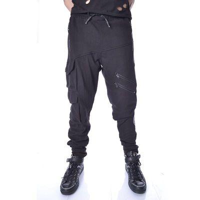 Foto van Broek Nero, met ritsen en embleem, joggingstof, zwart