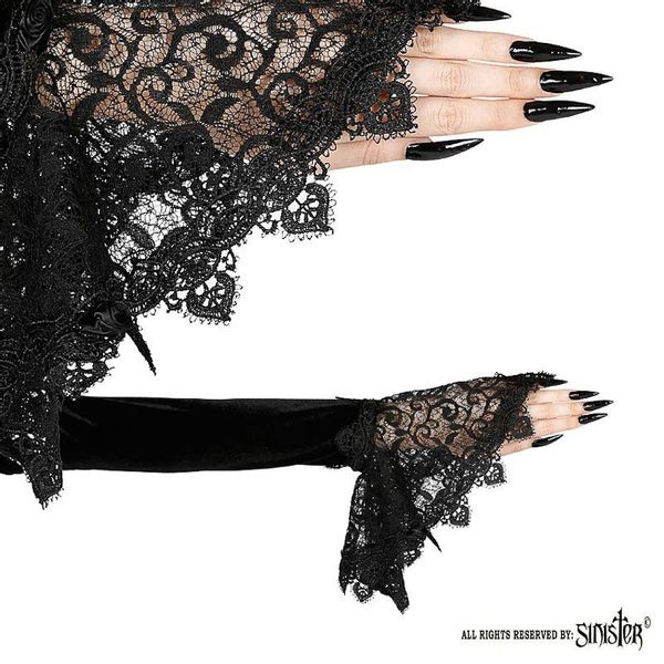Sinister - Manchetten Alina, met stretchmateriaal en kant, zwart