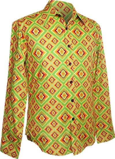 Chenaski | overhemd seventies, Rhombus licht groen