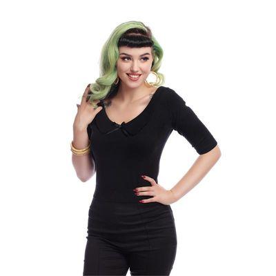 Foto van Collectif | Truitje Babette zwart met wijde V-hals en strikje
