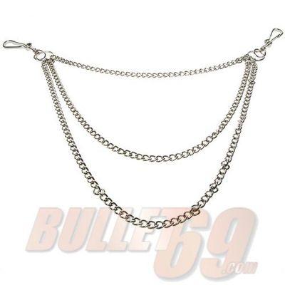 Foto van Bullet69 | Sleutelhanger met 3-dubbele zilverkleurige ketting