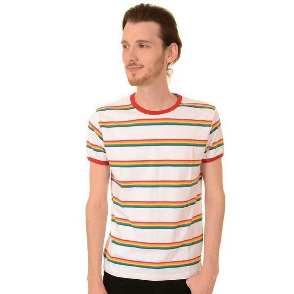 T-shirt, wit retro rainbow gestreept