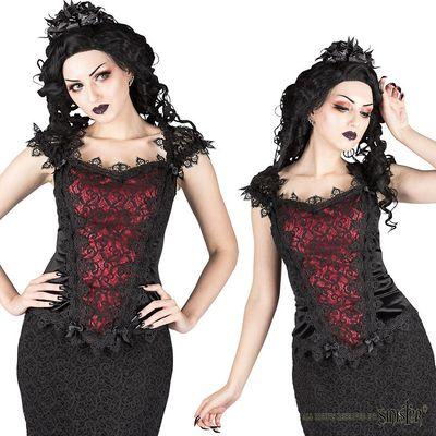 Foto van Top Scarlett, zwart fluweel met rood satijn, kant en satijn strikjes