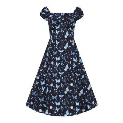 Foto van Collectif   Jurk Dolores Midnight Butterfly zwart blauw