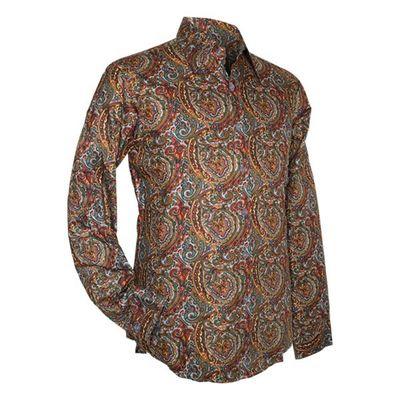 Chenaski   overhemd seventies, Big paisley, grey blue