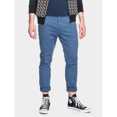 ATO Berlin | Pantalon Dino, blauw met zacht wafel-ruit motief