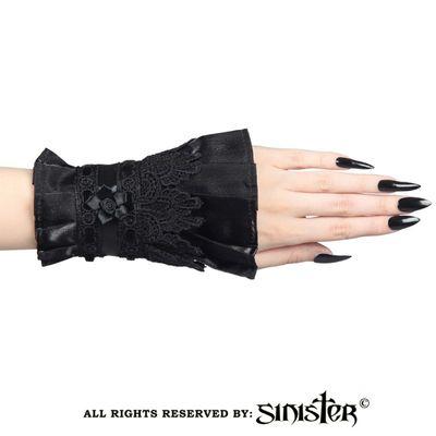 Foto van Sinister | Manchetjes Nora, fluweel en zwart kant met satijnen bloem
