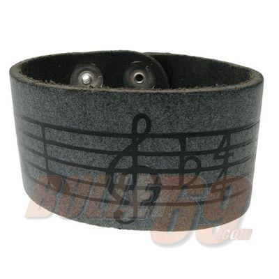 Foto van Bullet69 | Brede leren armband grijs muzieknoten