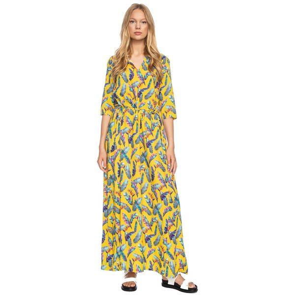 Ato Berlin, lange jurk Gwen geel met veren print