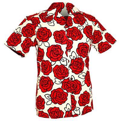 Foto van Chenaski | Overhemd korte mouw, Outlined Rozen creme, rood