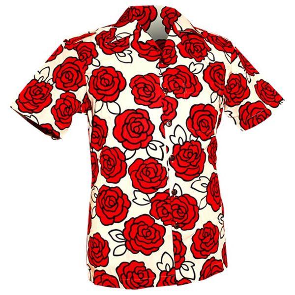 Chenaski | Overhemd korte mouw, Outlined Rozen creme, rood