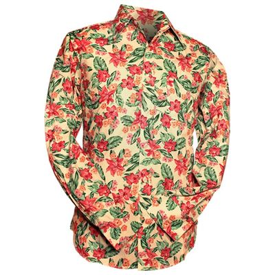 Foto van Chenaski | Overhemd 70s Flowers, creme pink green