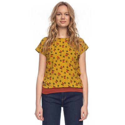 ATO Berlin | shirt Leo geel met retro bloemetjes