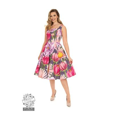 Foto van Hearts & Roses | Denise, swing jurk met grote bloemen