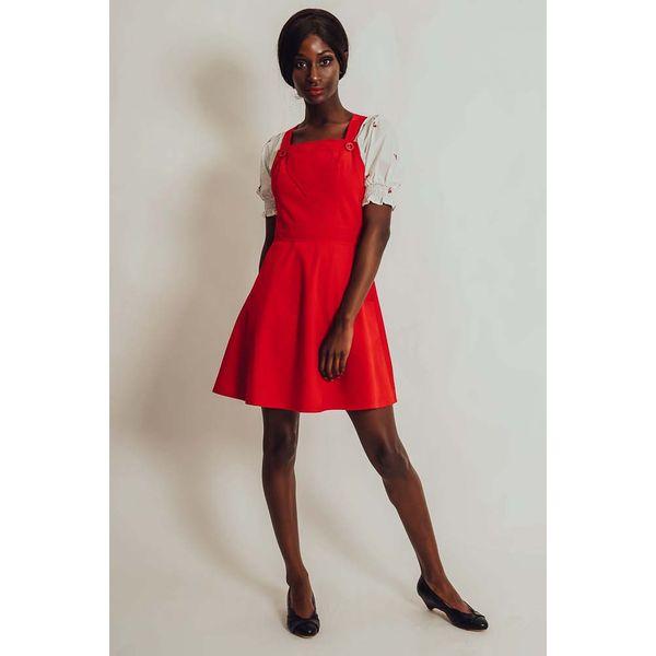 Voodoo Vixen   Rode ribcord pinafore jurk Donita met hartvorm
