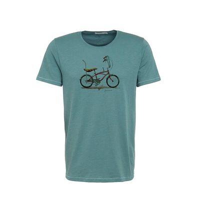 Foto van Green Bomb   T-shirt Bike Banana, bio katoen dirty blue