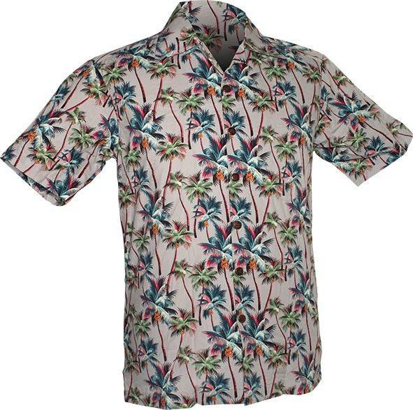 Chenaski | Overhemd korte mouw, Palm Trees, grijs