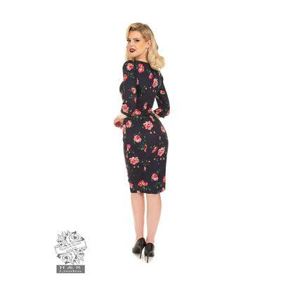 Foto van Hearts & Roses | Pencil jurk Lana Floral navy met rozen
