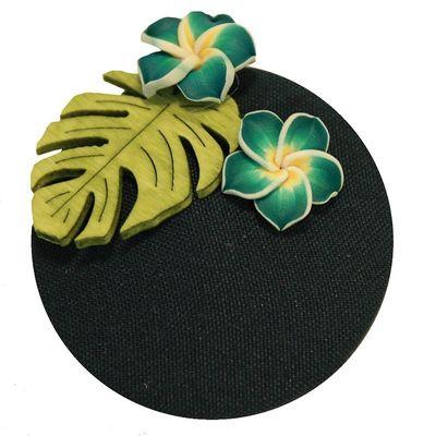 Foto van Miranda's Choice - Haarclip minihoed Aloha met bloem donkergroen