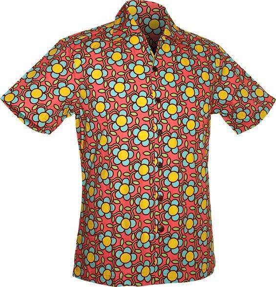Chenaski | Overhemd korte mouw, Flowergrid, roze