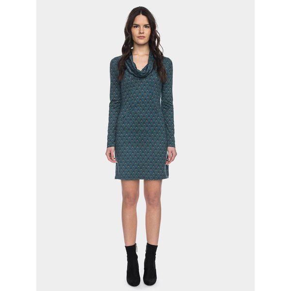ATO Berlin | Halbmond blauw groen retro jurk met losse col