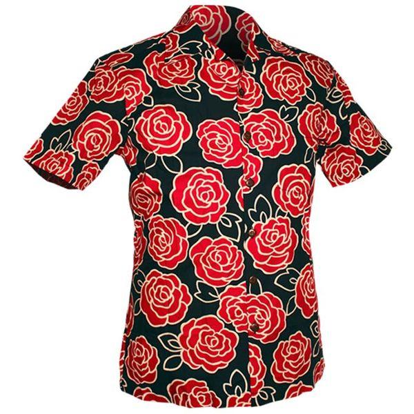 Chenaski | Overhemd korte mouw, Outlined Rozen navy, roze