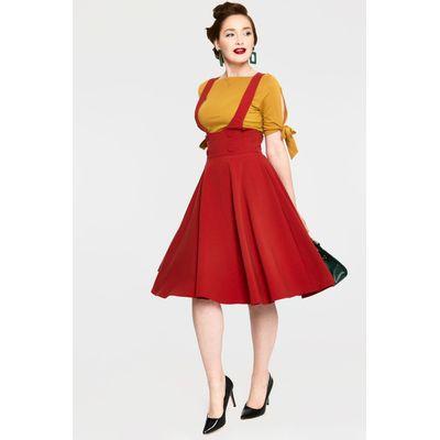 Foto van Voodoo Vixen | Oranje rode overgooier rok Phoebe met hoge taille