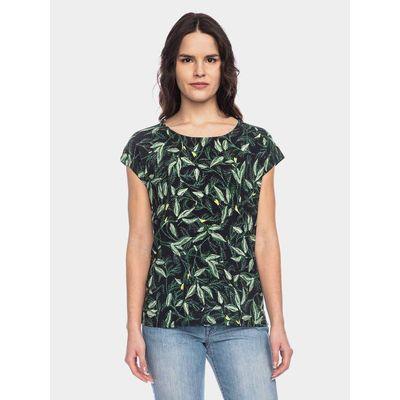Foto van ATO Berlin | Shirt Leandra zwart met groen blad en bloem motief